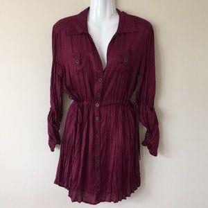 NWT Nine West burgundy shirt-dress size small